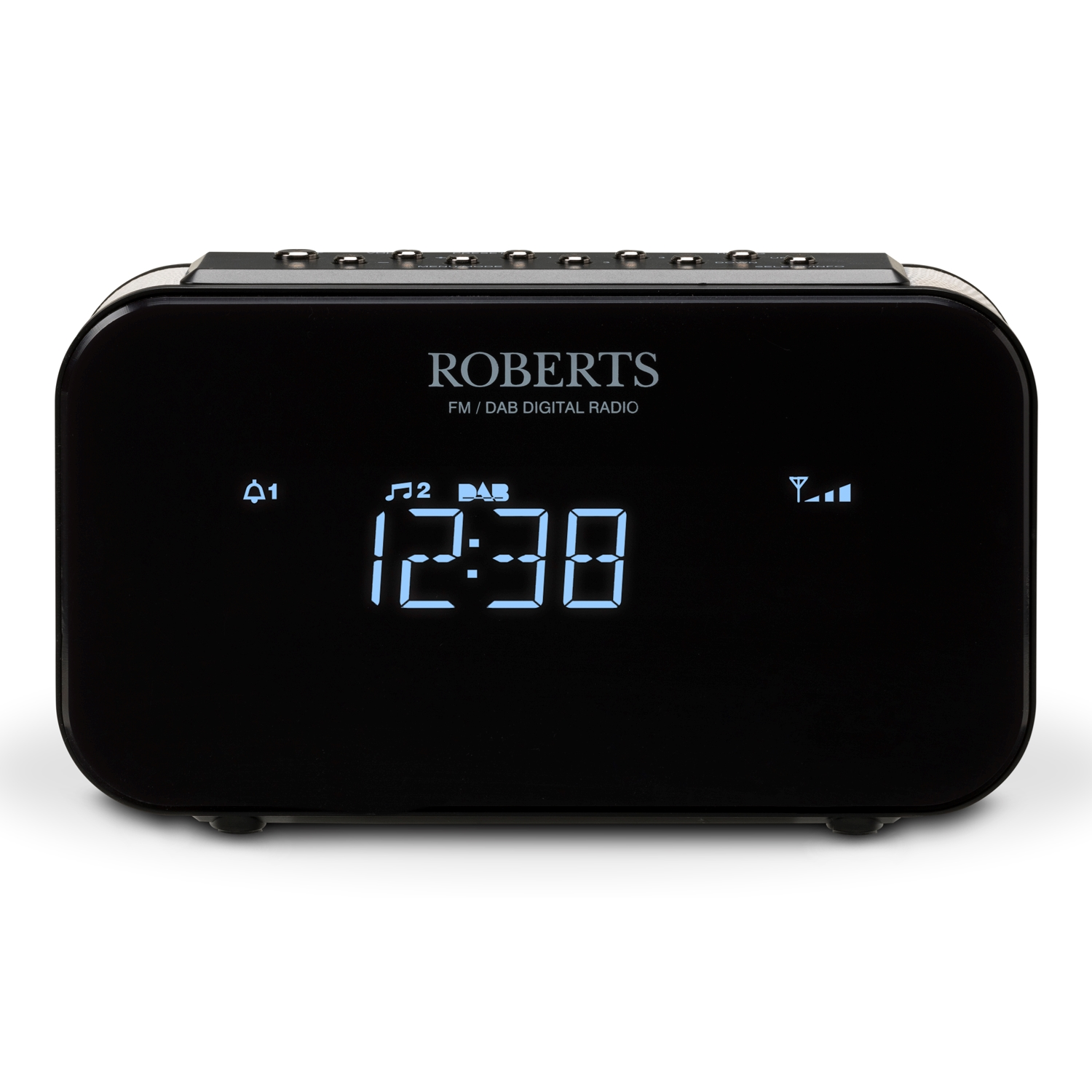 roberts clock radio ortus 1 dab dab fm radio with any button snooze black new ebay. Black Bedroom Furniture Sets. Home Design Ideas