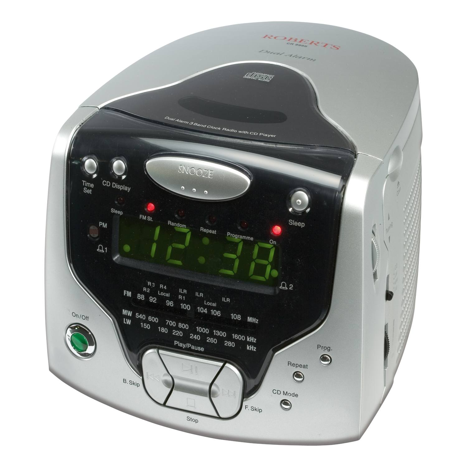 roberts cd cube cr9986 clock radio with cd player headphone output in silver ebay. Black Bedroom Furniture Sets. Home Design Ideas