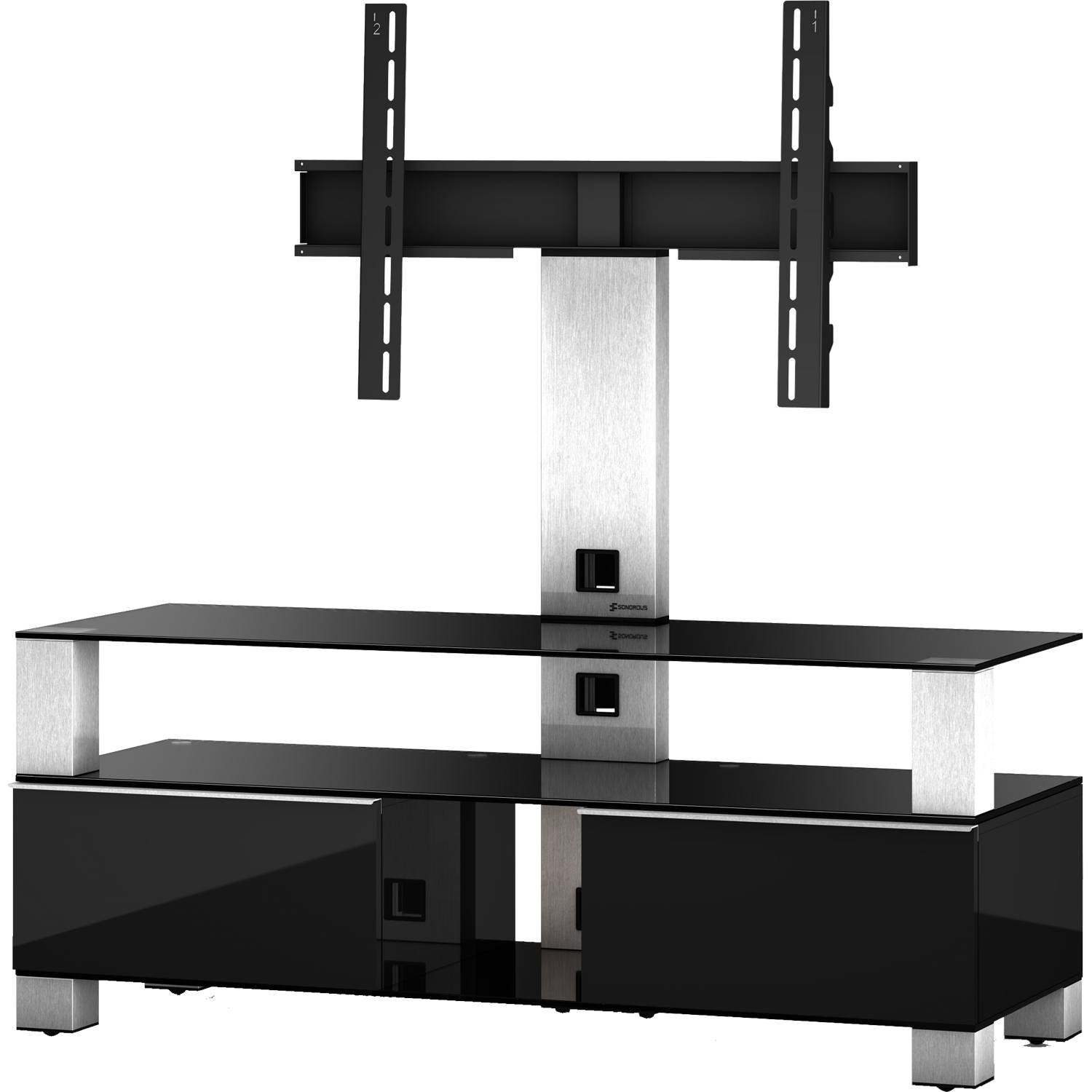 Sonorous MD8123B-INX-BLK Black Glass & Wood TV Stand for upto 50 ...