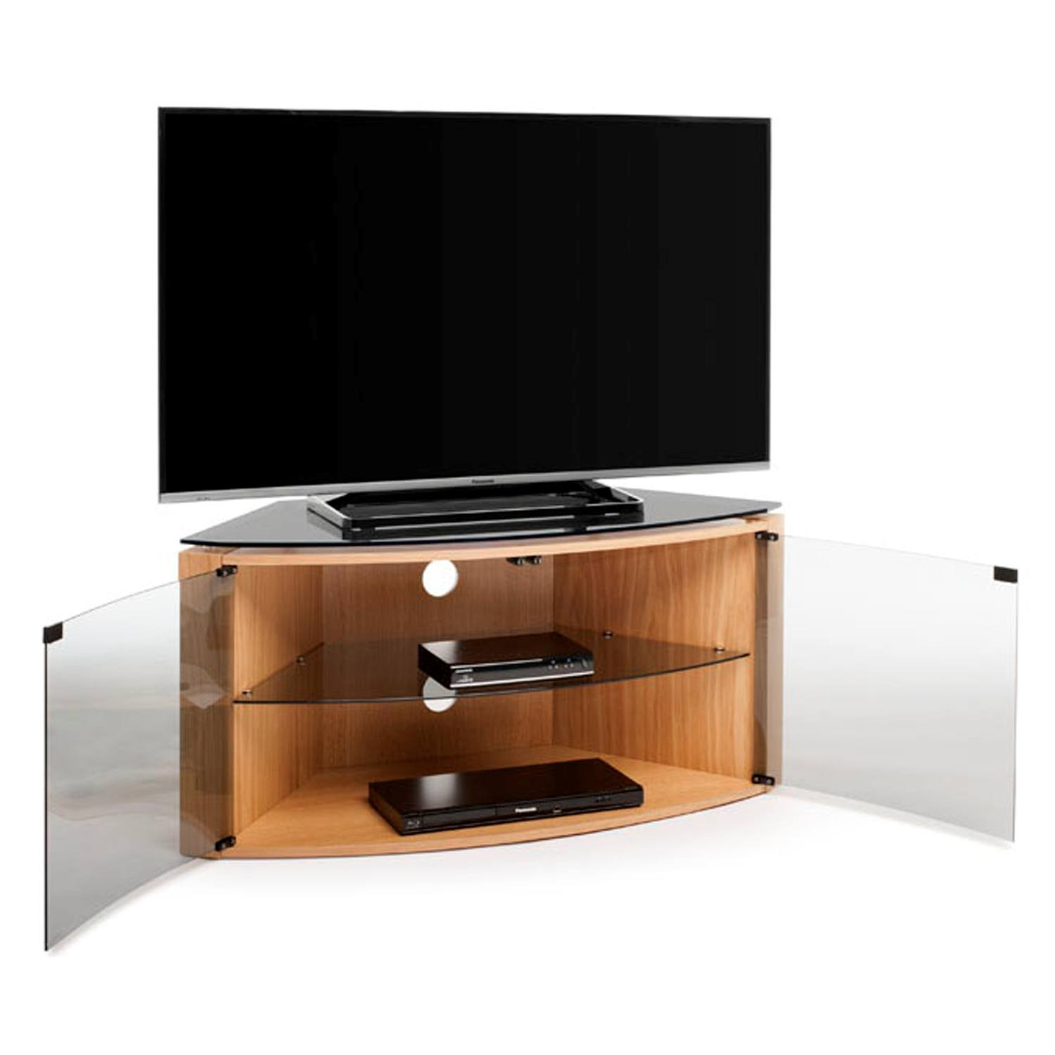 Techlink Bench B6LO Light Oak Corner TV Stand for up to 55 ...