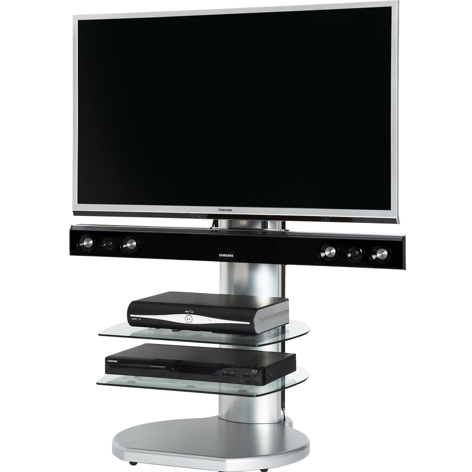 off the wall origin ii s silver  tv stand fits up to  with  - off the wall origin ii s silver  tv stand fits up to  with overhangnew £